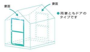 アルミ温室の両ドアタイプ